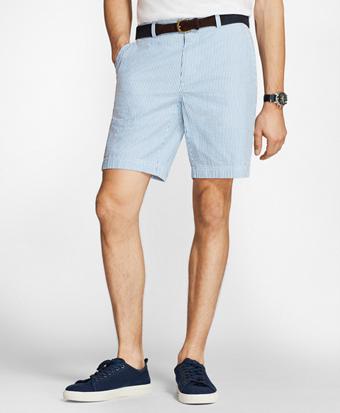 Striped Cotton Seersucker Shorts