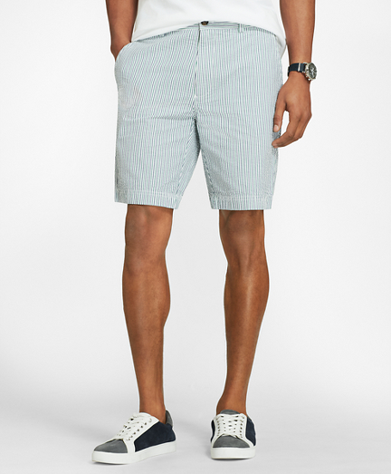 Striped Cotton Seersucker Shorts