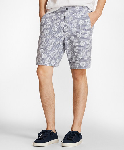 Tropical Print Cotton Twill Shorts