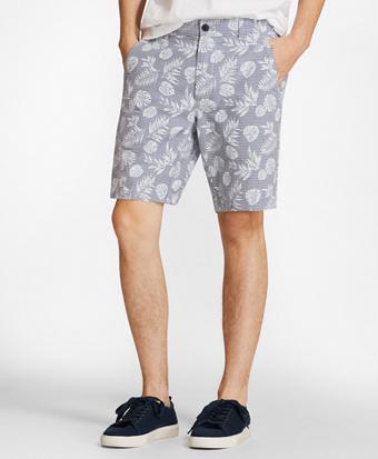 Tropical Print Cotton Twill Shorts