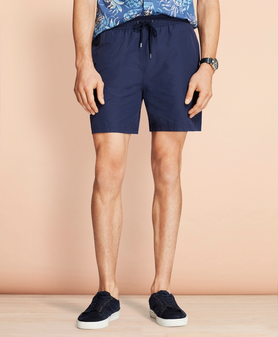 "Montauk 6"" Seersucker Swim Trunks Navy"