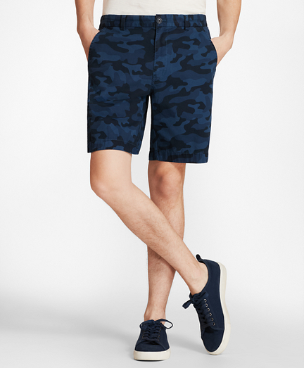 Camo-Pattern Cotton Twill Shorts