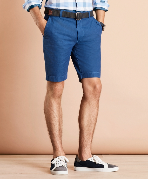 Garment-Dyed Oxford Shorts Blue