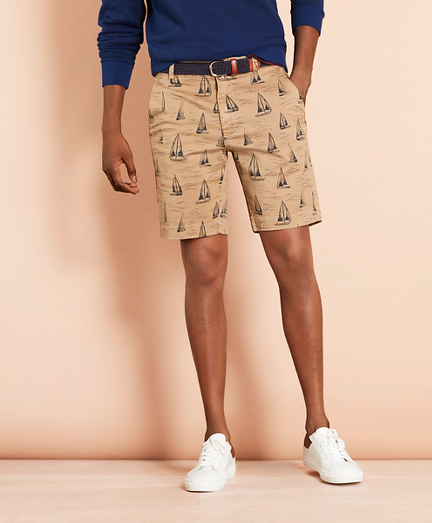 Sailboat-Print Cotton Twill Shorts