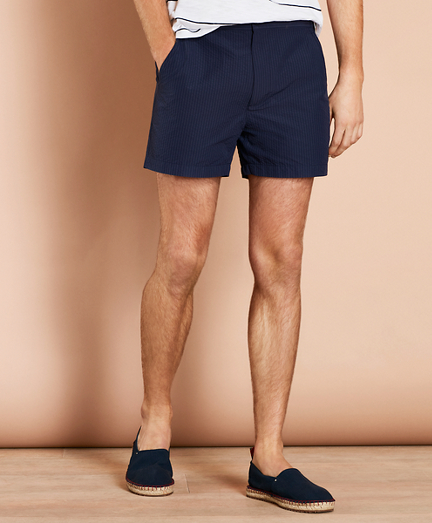 "Seersucker 4½"" Swim Trunks"