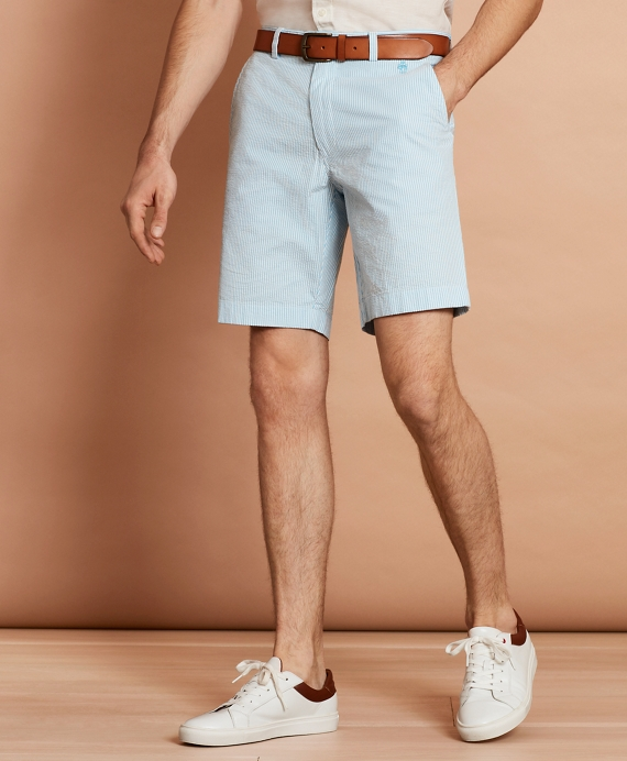 Striped Cotton Seersucker Shorts Blue-White