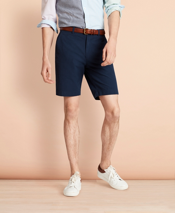 Cotton Seersucker Shorts Navy