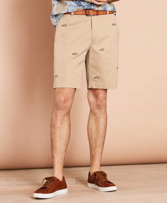 Embroidered Car Cotton Twill Shorts Khaki