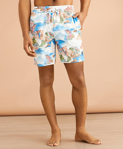 "Coastal-Print 6"" Swim Trunks"