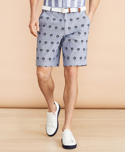 Chambray Flower Print Shorts