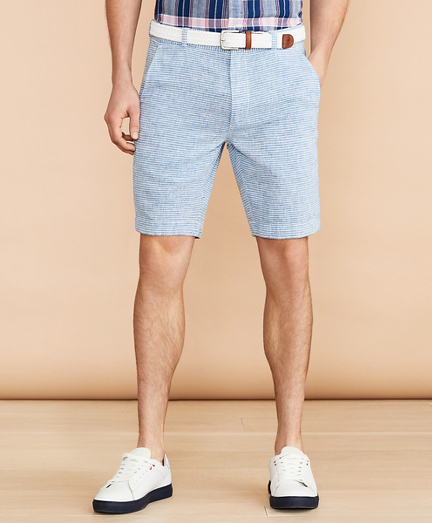Horizontal Stripe Cotton-Linen Shorts