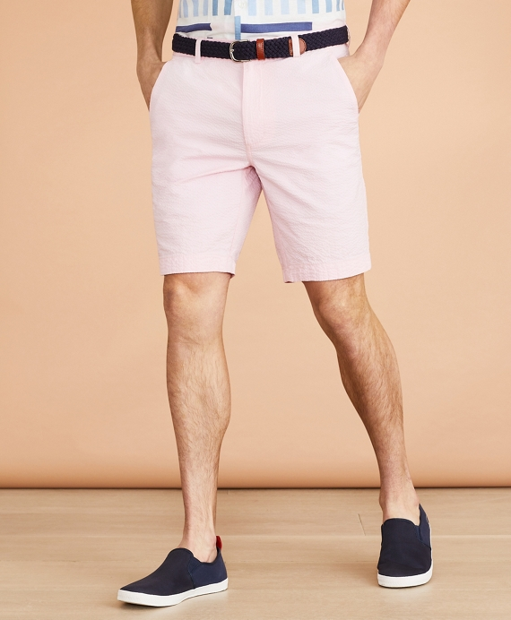 Cotton Seersucker Shorts Rose