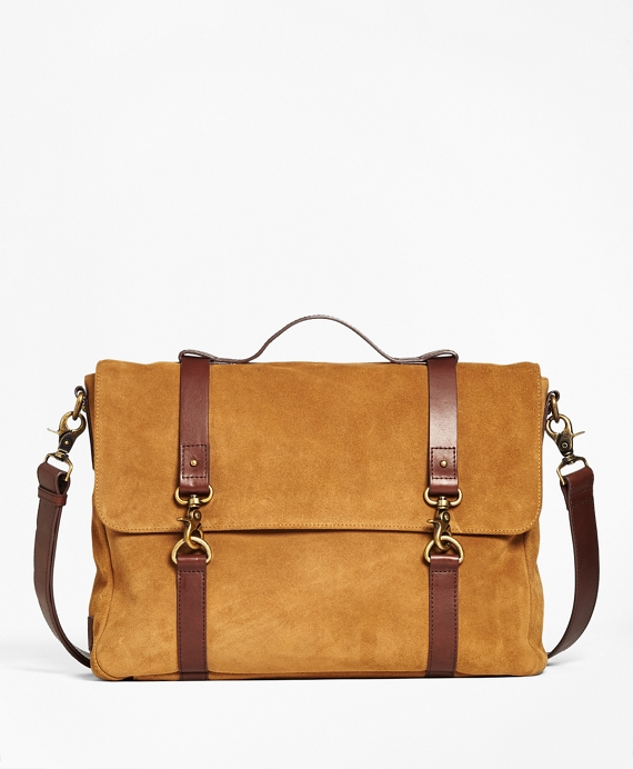 Suede Convertible Brief/Messenger Bag Tan