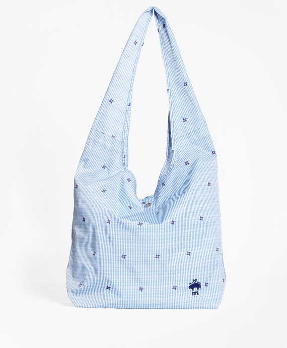 Pinwheel Seersucker Shopper Bag Blue-White