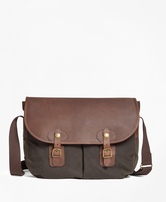 b12522f45ede Waxed Canvas & Leather Messenger Bag - Brooks Brothers