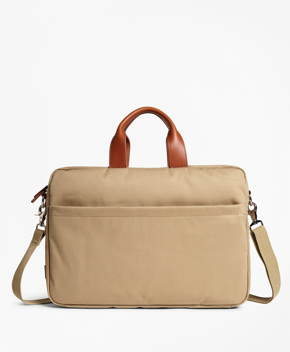 Brushed Cotton Twill Briefcase Khaki