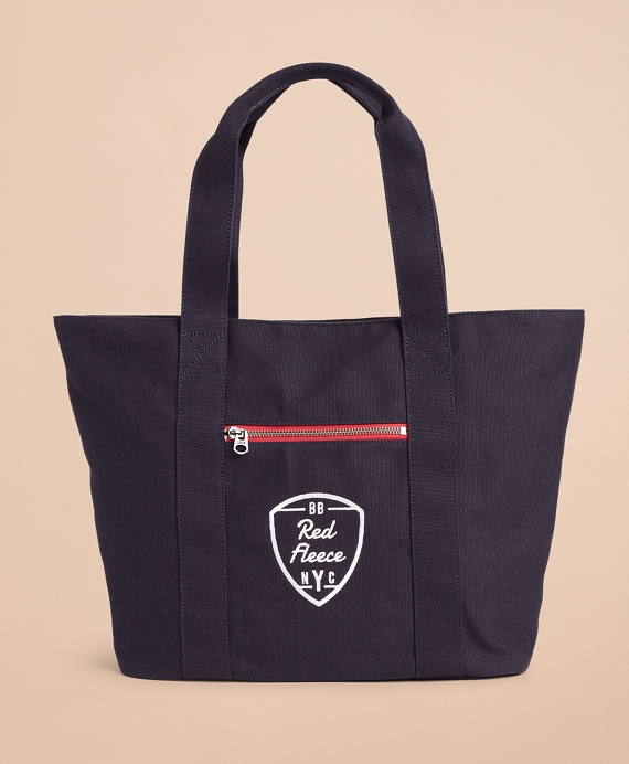 Red Fleece NYC Canvas Tote Bag Navy
