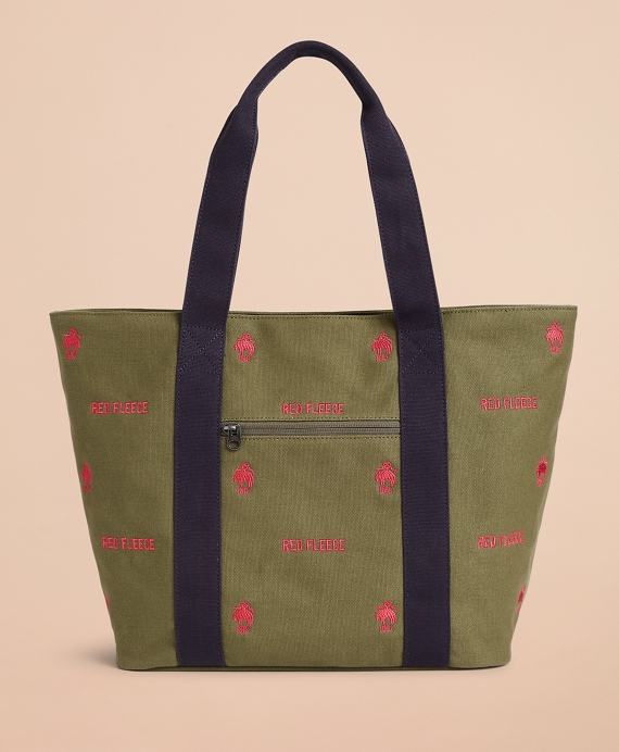 Logo-Embroidered Canvas Tote Bag Ivy Green