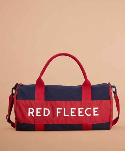 Red Fleece Canvas Duffle Bag