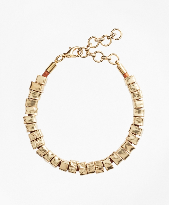 Leather and Hammered Gold Bracelet Gold