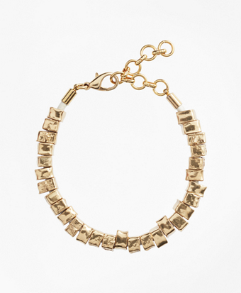 Leather and Hammered Gold Bracelet