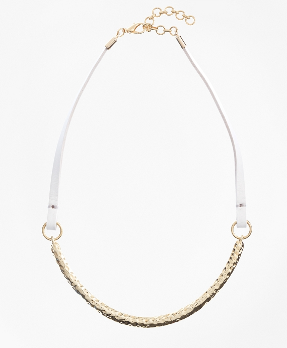 Leather and Hammered Gold Choker Gold