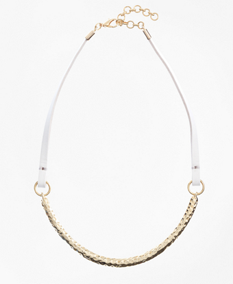 Leather and Hammered Gold Choker