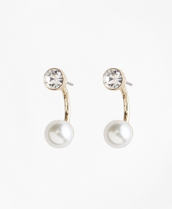 Pearl and Crystal Front-Back Earrings Gold