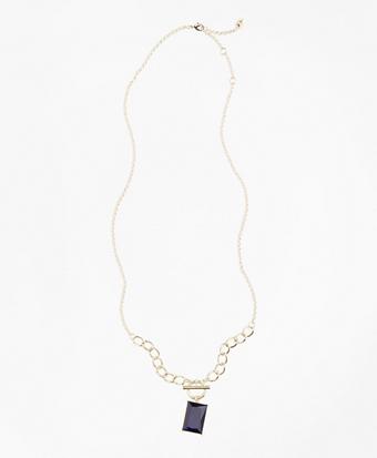 Square Stone Pendant Necklace