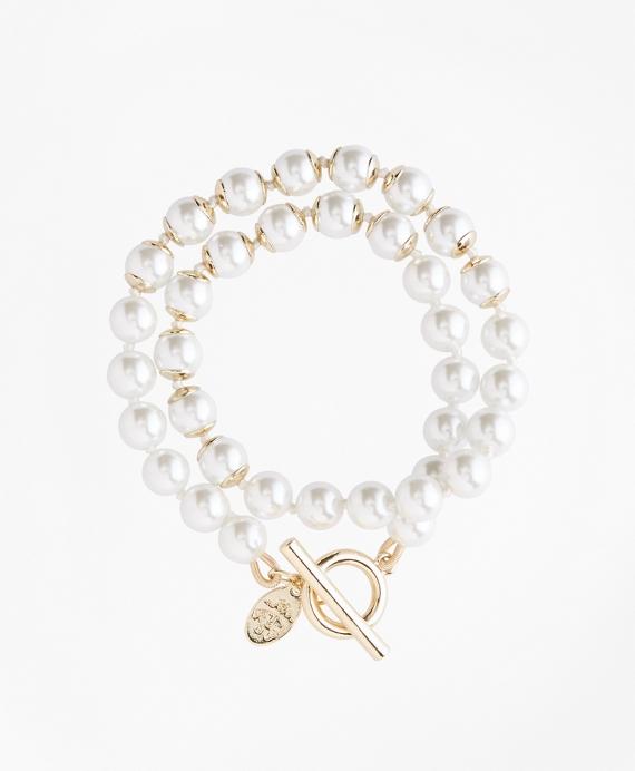 Glass Pearl Wrap Bracelet Gold