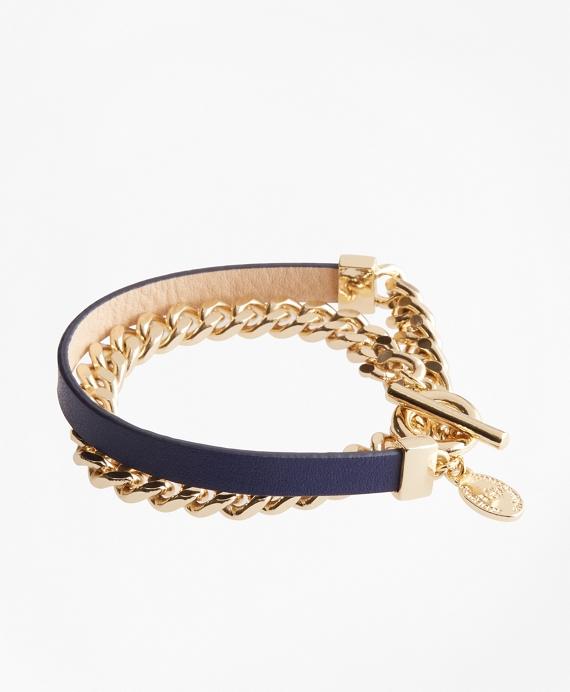 Leather Chain Wrap Bracelet Navy