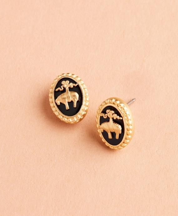 Gold-Plate & Enamel Golden Fleece® Stud Earrings Gold