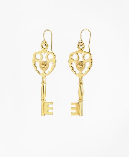 Gold-Plated Key Drop Earrings