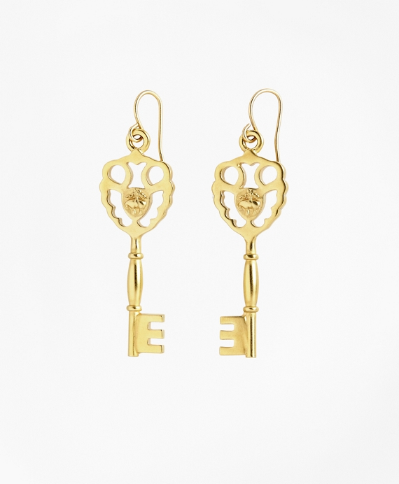 Gold-Plated Key Drop Earrings Gold