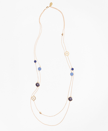 Long Two-Strand Enamel Charm Necklace