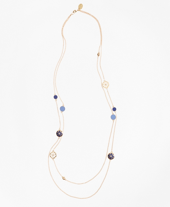 Long Two-Strand Enamel Charm Necklace Gold