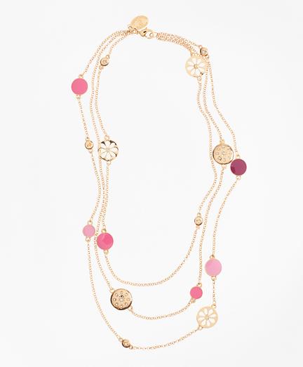 Three-Strand Enamel Charm Necklace