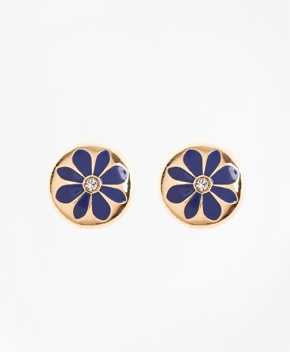 Enamel Floral Stud Earrings Gold