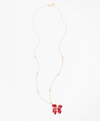 Gold-Plated Hibiscus Pendent Necklace