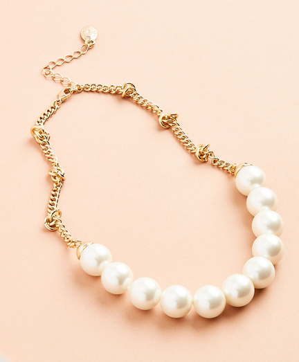 Glass Pearl and Knotted Chain Necklace