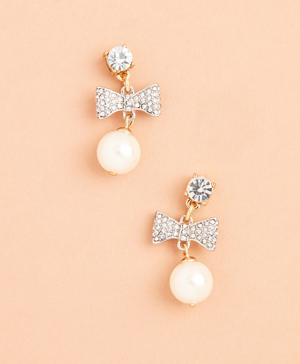 Glass Pearl and Rhinestone Bow Drop Earrings