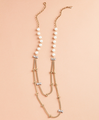 Glass Pearl and Rhinestone Bow and Long Necklace