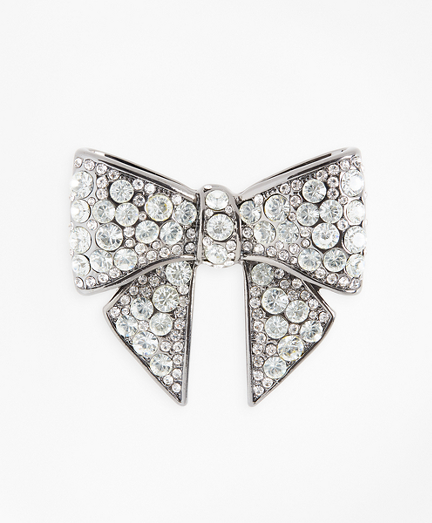Rhinestone-Encrusted Bow Brooch