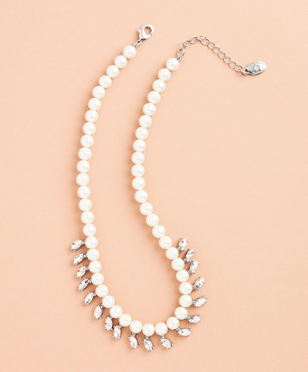 Glass Pearl and Rhinestone Necklace