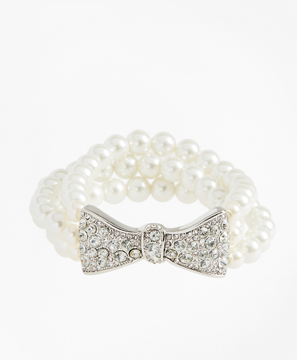 Glass Pearl and Rhinestone Bow Bracelet