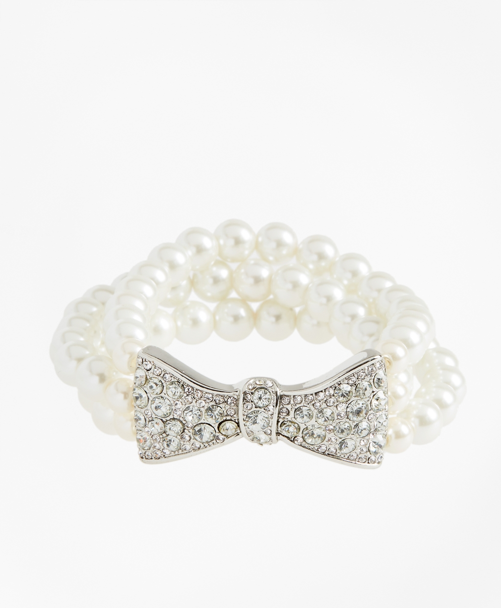 Vintage Style Jewelry, Retro Jewelry Brooks Brothers Womens Glass Pearl And Rhinestone Bow Bracelet $48.00 AT vintagedancer.com