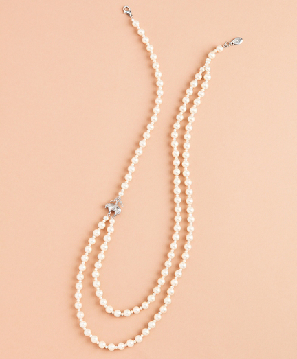 Asymmetrical Two-Strand Glass Pearl Necklace
