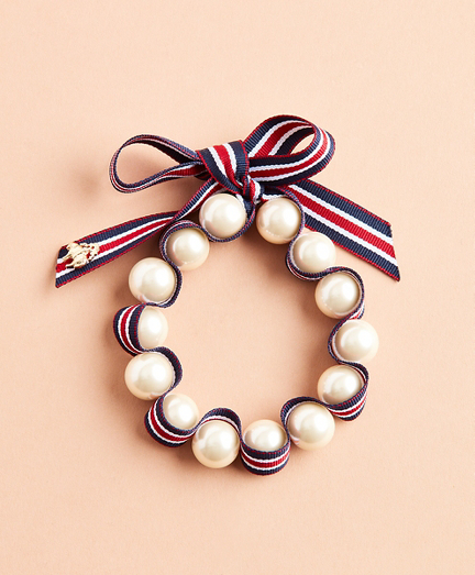 Glass Pearl & Striped Grosgrain Bracelet