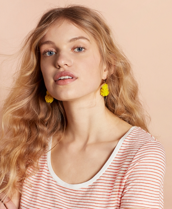Beaded Pom-Pom Earrings Yellow
