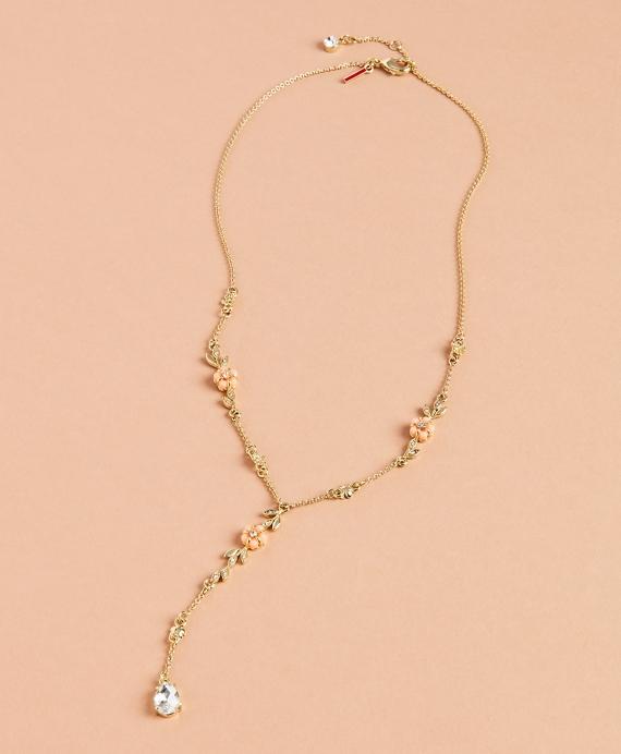 Floral Lariat Necklace Gold